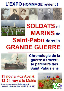 Affiche de l'exposition hommage aux Soldats et Marins de Saint-Pabu dans la Grande Guerre - Novembre 2018