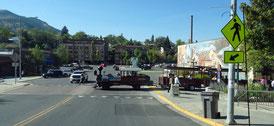 Fußgängerzone und Bähnchen für die Stadtrundfahrt