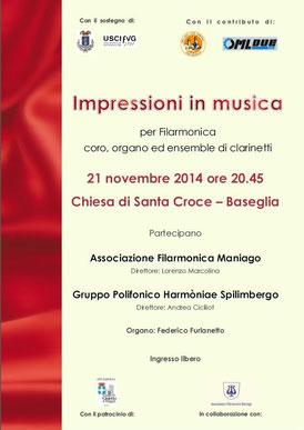 """Pro Loco """"I Due Campanili"""" di Gaio e Baseglia - Concerto 21 Novembre 2014 - Locandina"""