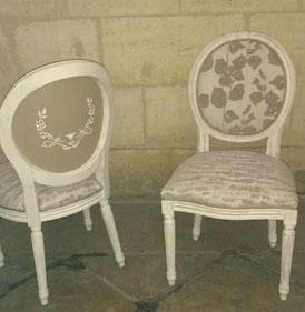chaises style Louis XVI, peinture, pochoir et couverture par l'atelier de Sylvie