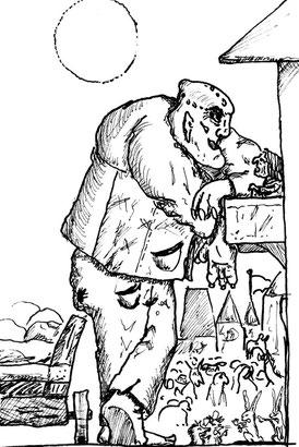 Ein Riese und eine alte Frau im Gespräch. Unzählige Fabelwesen, Familie Hase und Igel streiten sich, alle in einer mittelalterlichen Stadt mit tausend Palästen.
