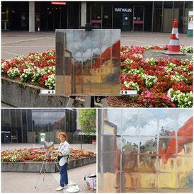 Skizzentreffen 13.09.2019 am Rathaus in Ahlen, Pleinair-Malerei des Fenster-Spiegelbildes