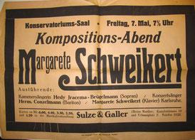 Margarete Schweikert Liederabend, ca. 1920er Jahre (Badische Landesbibliothek Karlsruhe)