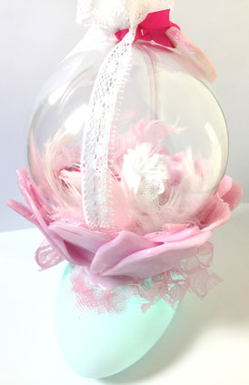 veilleuse, veilleuse bébé, rose, fimo, handmade, fait main, led, plume, dentelle, rose