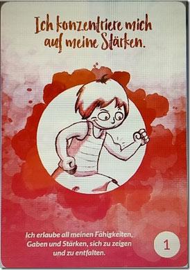 """Die """"Innere Kind Karte"""" Nr. 1 """"Ich konzentriere mich auf meine Stärken."""" (Illustration: ©Martina Sophie Pankow, www.msp-world.de / Grafische Umsetzung: www.prima-line.de)"""