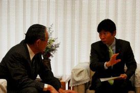 県との連携について懇談する伊原木知事と当会理事長高橋