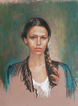 """""""La jeune fille à la tresse"""", pastel, 65/50 cm, 2015"""