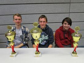 Das Podest der U18: Uli Weller (1., Mitte), Johannes Rieder (2., links), sowie Matthias Frenkel (3., rechts)