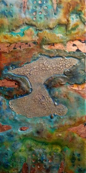 Time Passage 2019 (Acryl Mischtechnik auf Leinwand, Bimsmehl, Gesso, Sumpfkalk, Schlagmetall, Tusche, Pigmente, Sand) 50x100x4,5