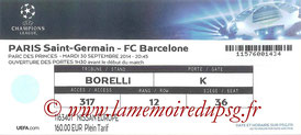 Ticket  PSG-Barcelone  2014-15