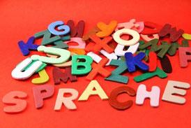 """Buchstabensalat mit Wort """"Sprache"""" im Vordergrund"""