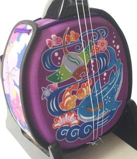 デザイン三線ジンベイザメ紫の画像表