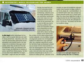 Artikel in der Promobil über das solara Solarmodul Power-Mobil-Plus. Sonnentrom zu laden von Batterien im Wohnmobil, Camper, Vans, Kastenwagen und VW Bus. Solarmodul mit integrierten Laderegler zum Anschluss im Fahrzeug. Solarmodul ist flexibel!