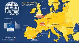 Sun Trip Europe Fahrradreise durch Europa mit Solarstrom von SOLARA für unterwegs beim Campen und Zelten. Unabhängige Stromversorgung für Licht, Handy / Mobiltelefon, Powerbank, Navigation, Internet uvm.  Solaranlagen von Solara sind auch Ideal zum campen
