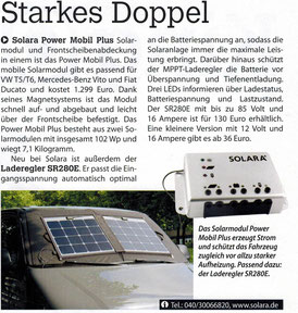 Presseartikel über das neue Solara Power Mobil Plus Solarmodul für die Frontscheibe eines VW Bus T5 oder andere Vans, Kastenwagen, Camper und Wohnmobile. Außerdem Informationen über den neuen Solar Ladergler SR280E von Solara mit MPPT Regelung
