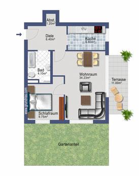 2 Zimmer Garten Wohnung in München Laim zu vermieten