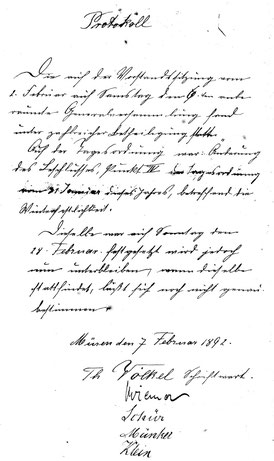 Vorhandene Aufzeichnungen von den 1. Statuten des Vereins