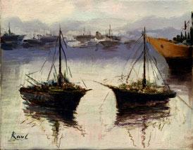 Cuadro con dos barcos de pesca