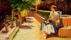 Cuadro con una mujer sentada en el jardín