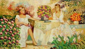 Cuadro con dos mujeres en una mesa del jarín
