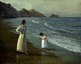 Cuadro con una mujer y una niña en la playa
