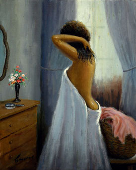Cuadro con una mujer frente al espejo