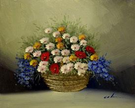 Cuadro de una cesta con flores