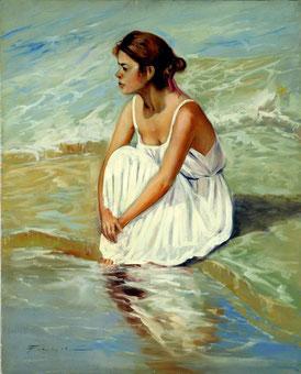Cuadro con una mujer sentada mirando el mar