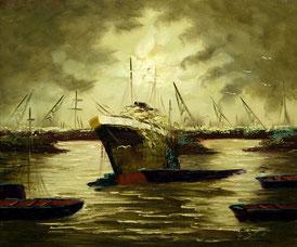 Cuadro con un barco de pesca