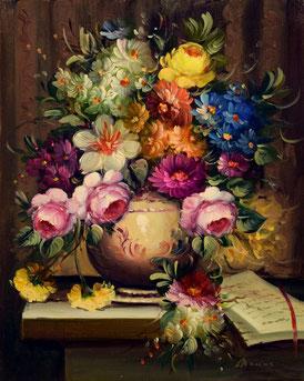 Cuadro de un jarrón con rosas