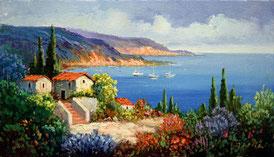 Cuadro con una casa frente al mar