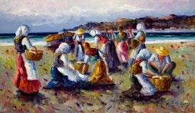 Cuadro con rederas en la playa