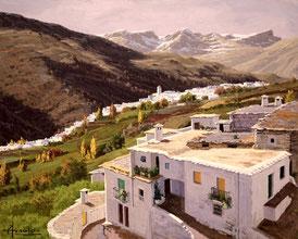 Cuadro al óleo de un pueblo en la montaña pintado por Arnaldo Curia