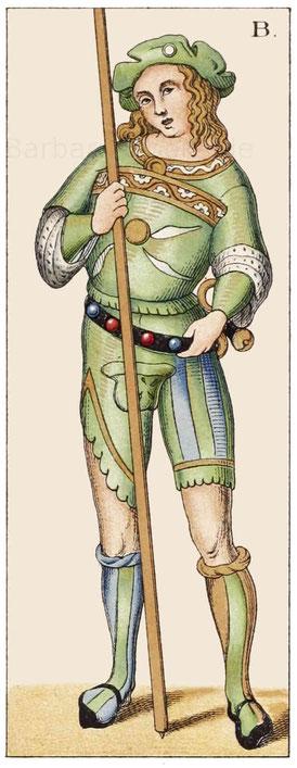 Die oberen drei Darstellungen sind italienische Trachten aus der zweiten Hälfte des 15. Jahrhunderts
