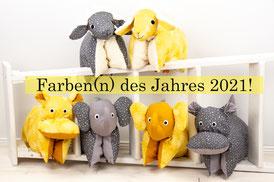 Babygeschenke Pantone Farben2021 Gelb Grau Kuschelkissen Handmade