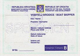 kroatisches Küstenpatent, Boat skipper B