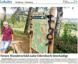 Das Weilburger Tageblatt berichtet am 11.09. über den Vandalismus