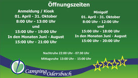Öffnungszeiten der Anmeldung am Campingplatz