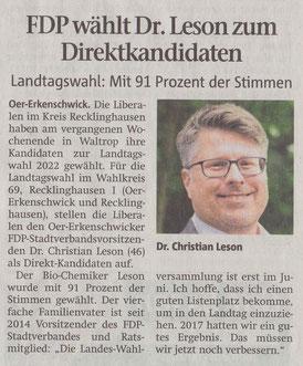 Artikel der Stimberg Zeitung vom 19.04.2021