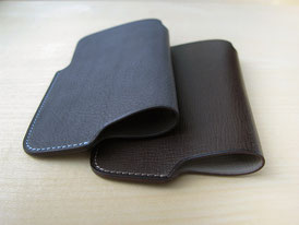 Lim Phone Sleeve Wax Leather Gray and Kip Leather Chocolate