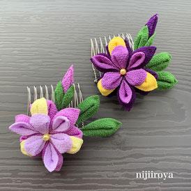 花菖蒲の髪飾り つまみ細工nijiiroya