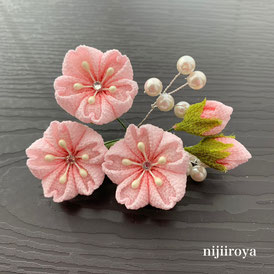 桜のコサージュ つまみ細工ijiiroya