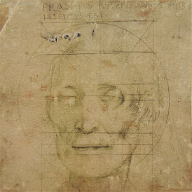 ( 17) Hans Baldung Grien, Portrait of the Dead Erasmus of Rotterdam, 11–12 July, 1536, 14 x 14.2 cm, silverpoint on prepared paper, inv. no. U.I.56, Kupferstichkabinett, Amerbach-Kabinett / Kunstmuseum Basel
