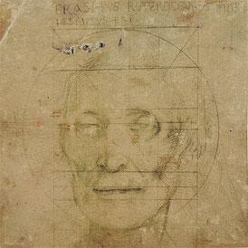 (17) Hans Baldung detto Grien, Ritratto di Erasmo da Rotterdam defunto, 11/12 luglio 1536, 14 x 14,2 cm, punta d'argento su carta lavorata a fondo, n. invent. U.I.56, Gabinetto delle incisioni su rame, Amerbach-Kabinett / Kunstmuseum Basilea