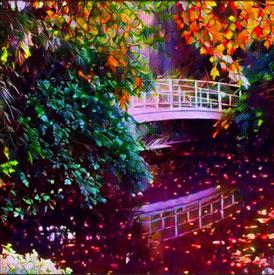 Dieses Foto zeigt eine Fußgängerbrücke in einem Park. Brücken können den Architekturfreund begeistern.