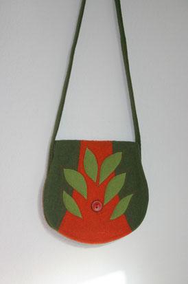 Taschen, Umhängetaschen aus Walkstoff genäht, Unikate mit Filzmuster