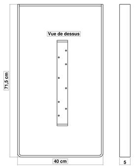 Dimensions pied de table BaYa 715 x 400