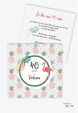 invitation anniversaire femme ananas et flamant rose-tropical
