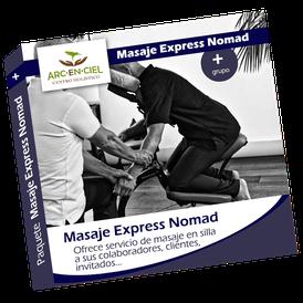 Paquete Massage Express Nomad Silla ergonomico Amma Bienestar Masaje estimulante energisante relajante corto economico cuerpo completo o por seccion Formulas 2, 3, 4, 6 y 8 horas Duracion del masaje desde 10 minutos hasta 30 minutos Empresas Eventos Bodas