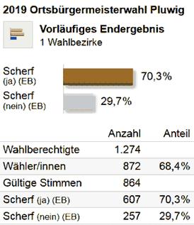 Kommunalwahlen 2019. Gemeinderat Pluwig. Endergebnis. Ortsbürgermeisterwahl. Graphik